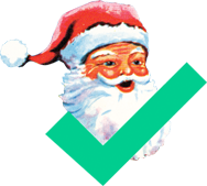 Santa with a green checkmark next to him, affirming Santa is real